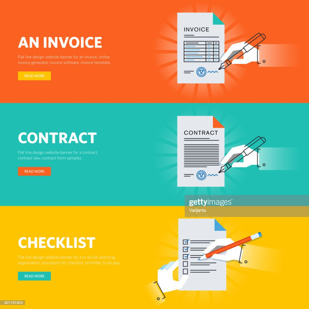 Set of flat line design web banners for business documentations