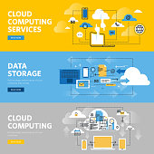 Set of flat line design web banners for cloud computing