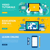 Set of flat line design web banners for distance education