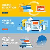Set of flat line design web banners for online education