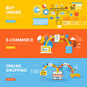 Set of flat line design web banners for online shopping