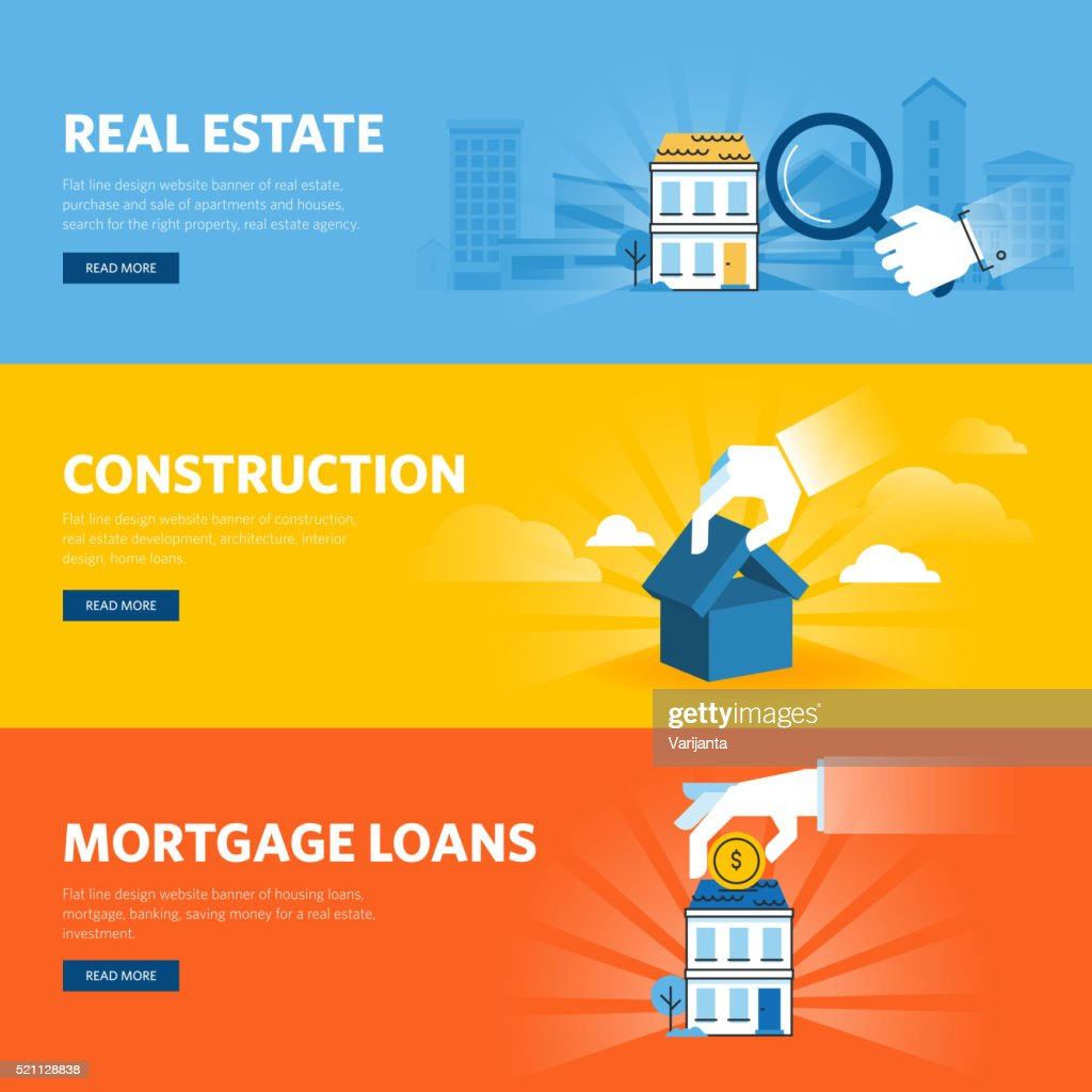 Set of flat line design web banners for real estate