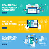 Set of flat line dweb banners for healthcare mobile app