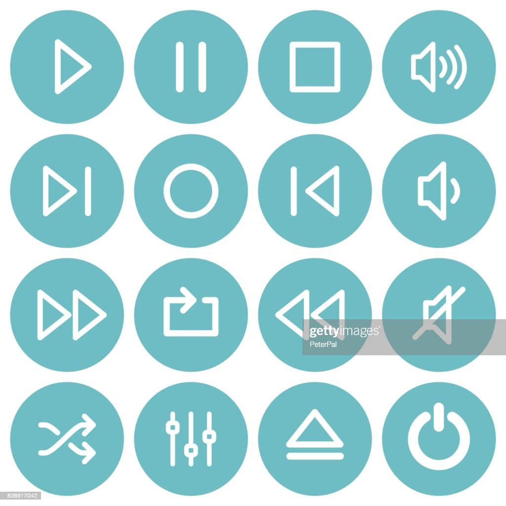 Set of flat media player buttons