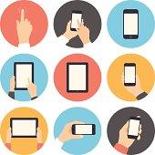 Set of flat mobile communication icons on white