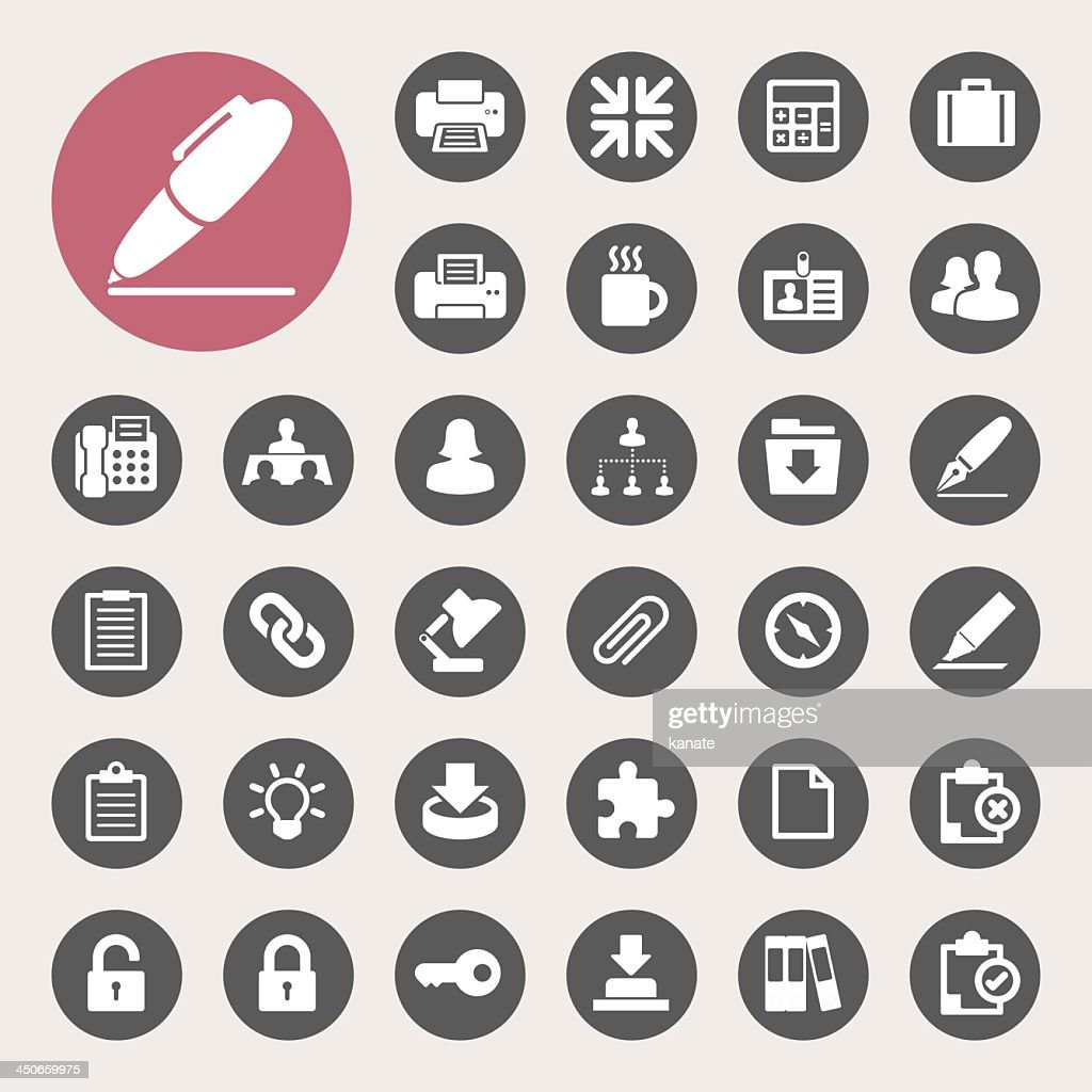 Set of flat office icons in black and white