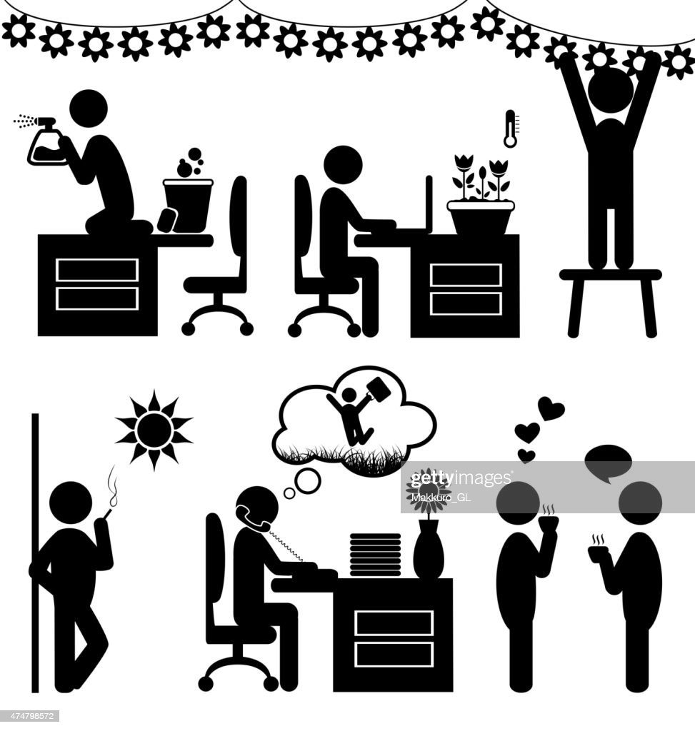 Set of flat office spring icons isolated on white