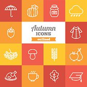 Set of flat outkined autumn icons