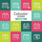 Set of flat outlined calendar icons