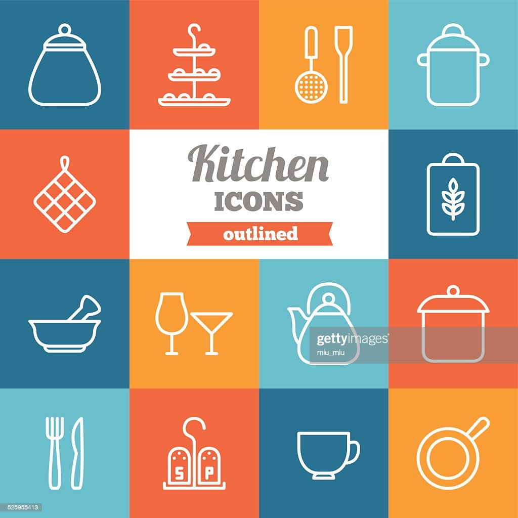 Set of flat outlined kitchen icons
