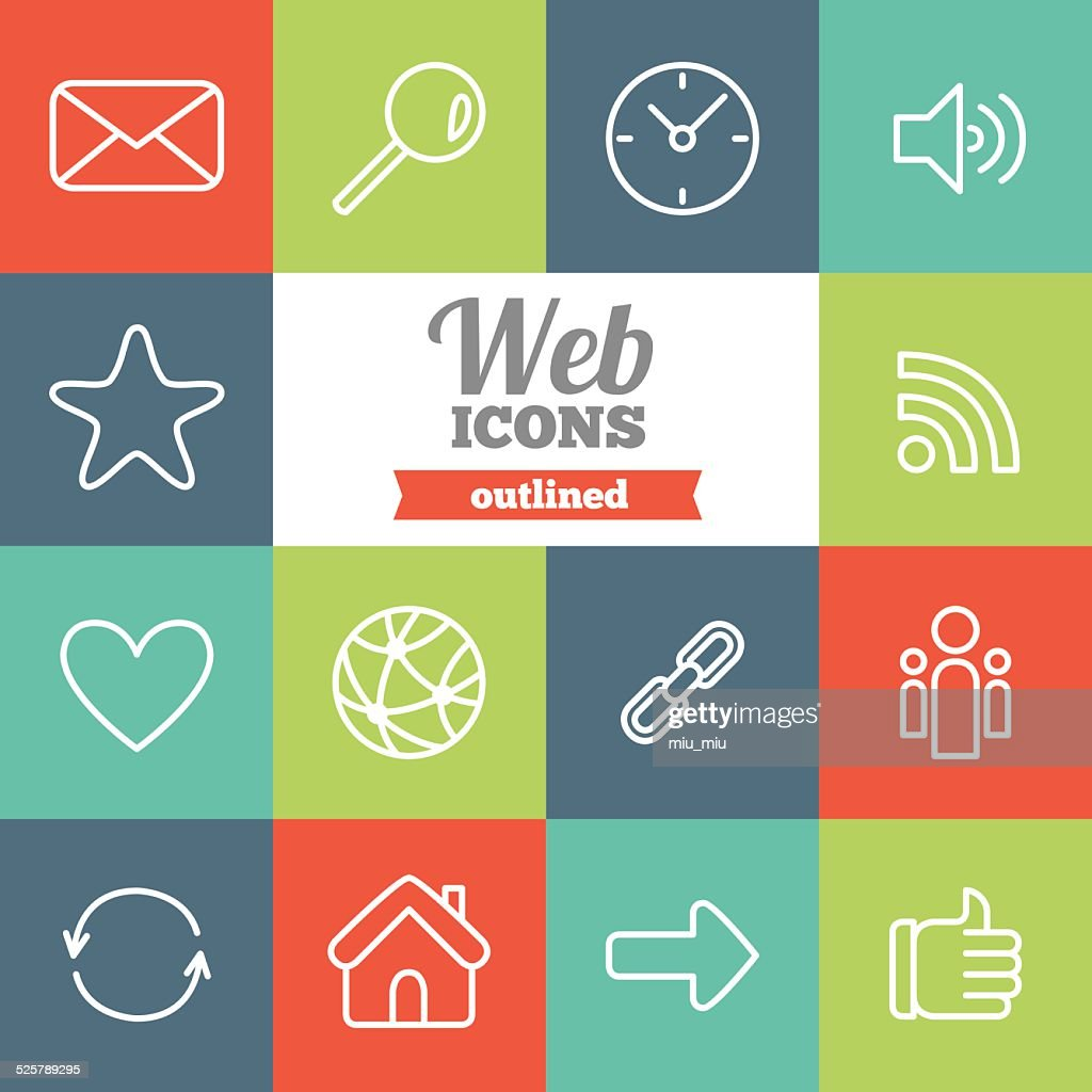 Set of flat outlined web icons