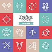 Set of flat outlined zodiac icons