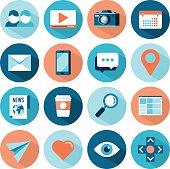 set of flat style social media icons