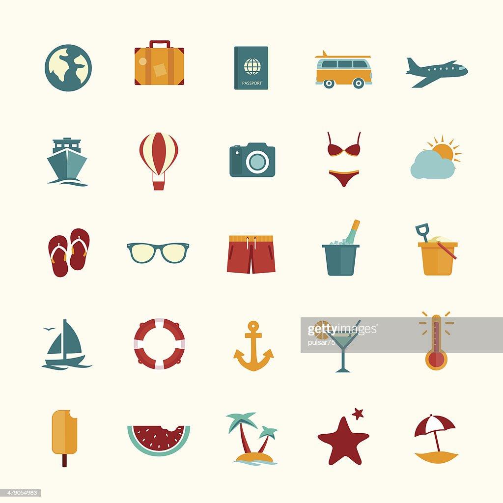 Set of flat style travel icons