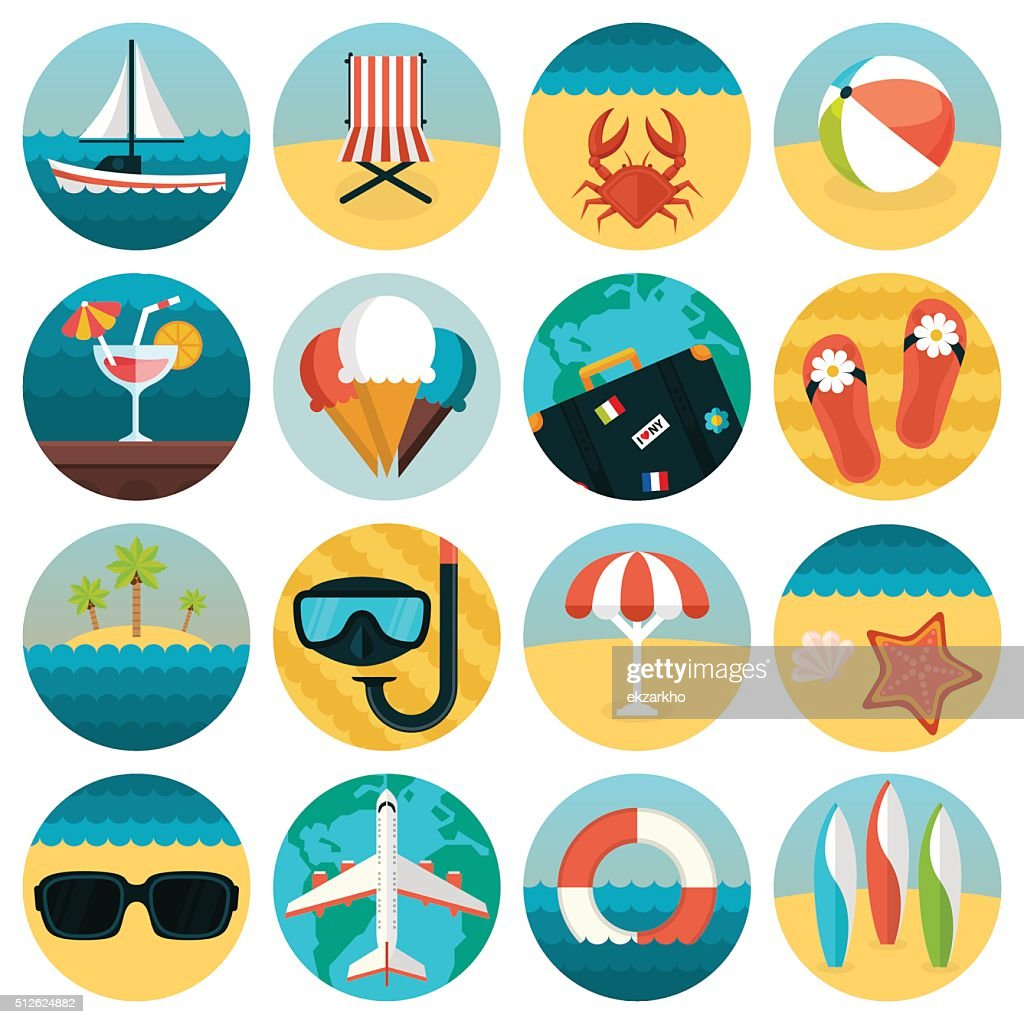 Set of flat summer rest icons combination. Traveling, tourism