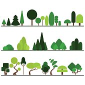 Set of flat trees including pine, bushes, fancy plants