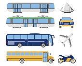Set of flat urban transport icon. Cartoon Vector illustration