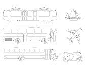 Set of flat urban transport icon. Outline Vector illustration