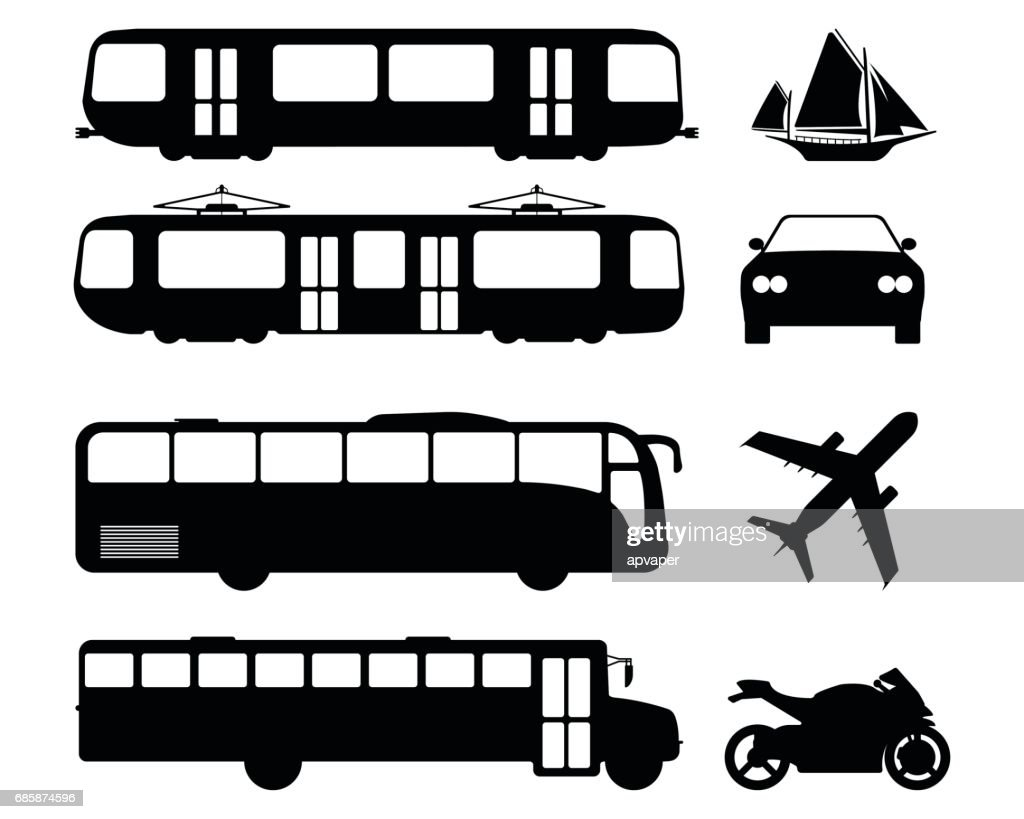 Set of flat urban transport icon. Silhouette Vector illustration