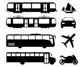 Set of flat urban transport icon. Silhouette Vector illustration