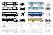 Set of flat urban transport icon. Vector illustration