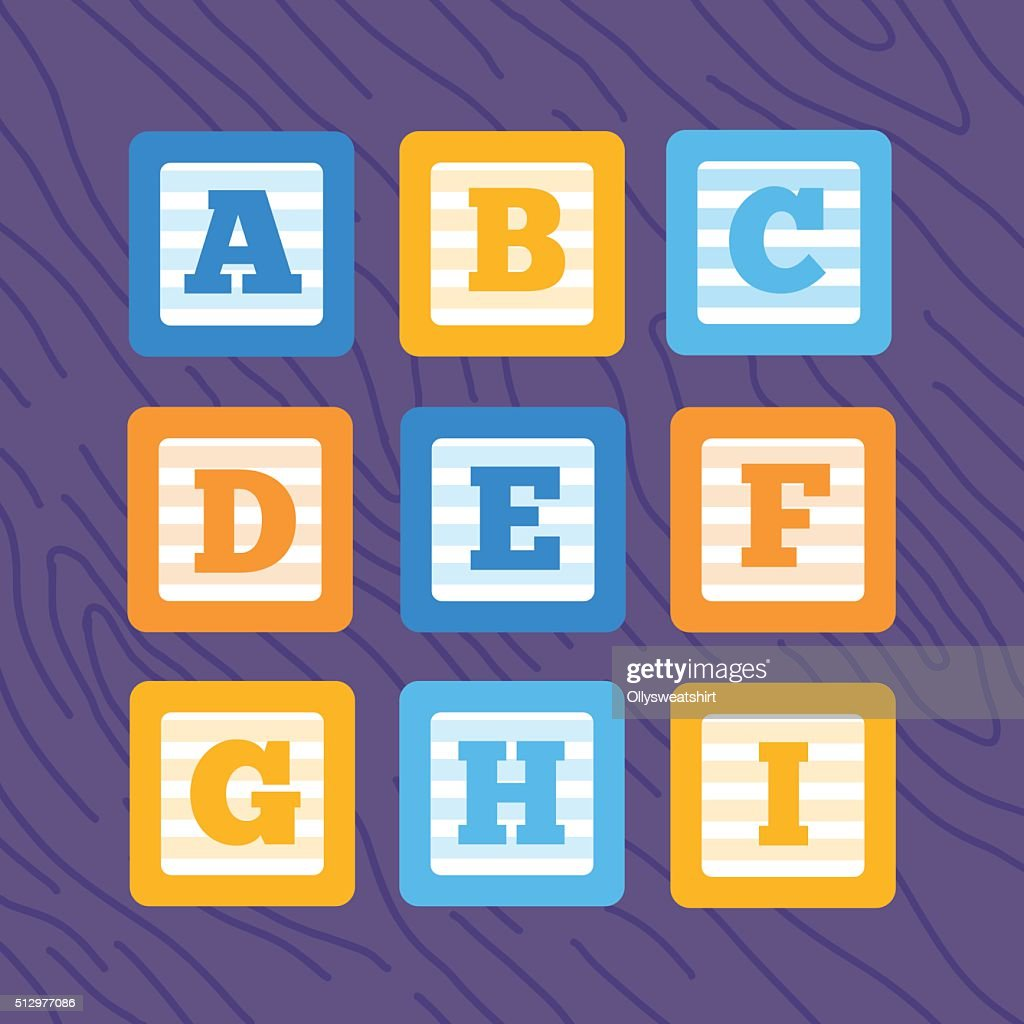 Set of flat vector alphabet baby blocks