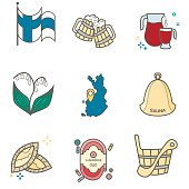 Set of flat vector icons of Finland main symbols and signs including flag and land map.