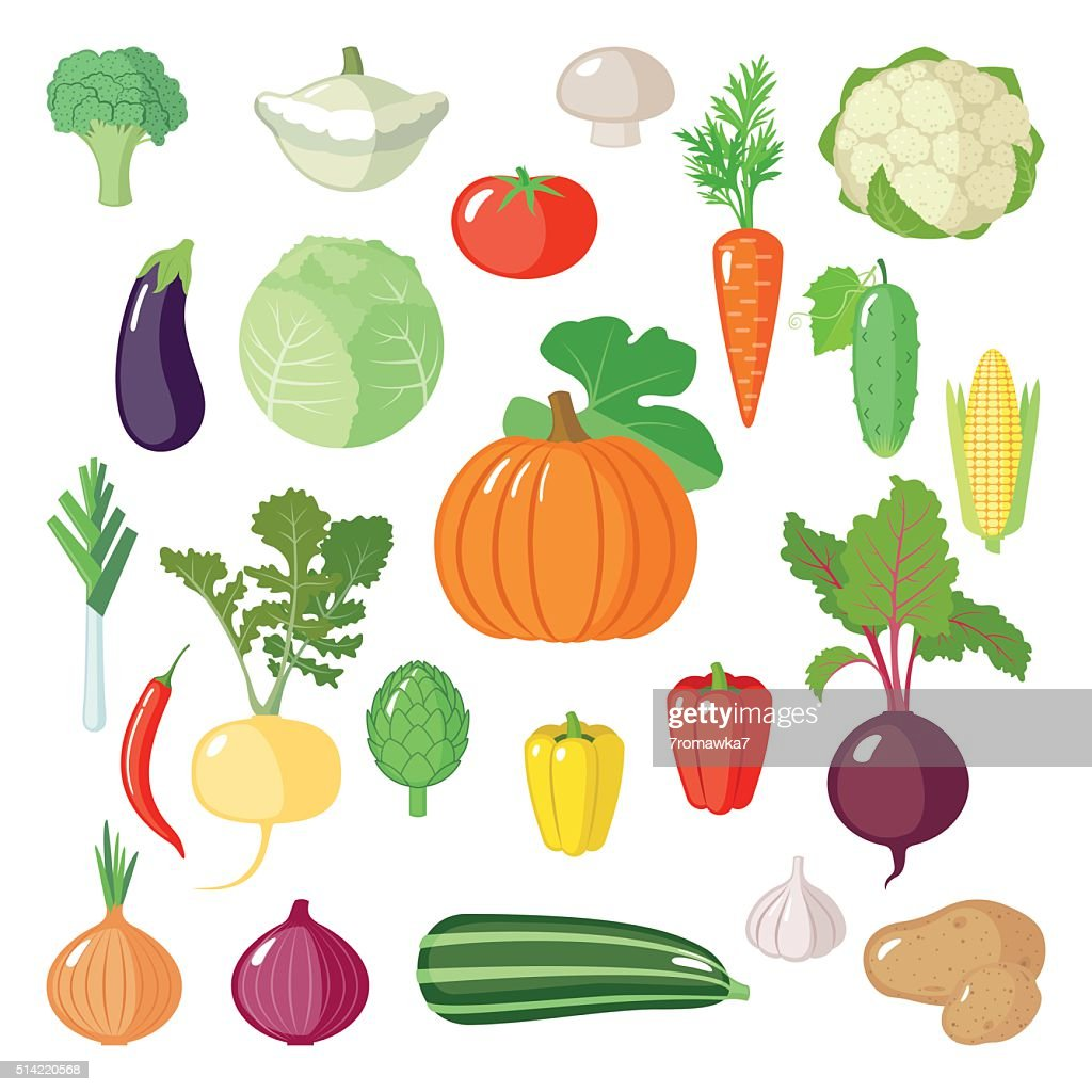 Set of flat vegetables.