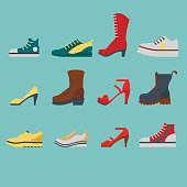 Set of flat-style shoes colored on blue background. Men and women sneakers, shoes and boots