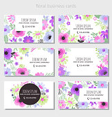 Set of floral business cards