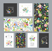 Set of floral cards.
