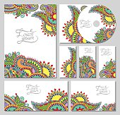 set of floral decorative background, CD design, brochure, busine