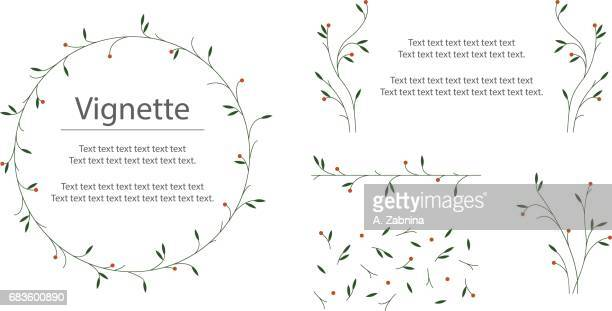 set of floral design - mistletoe stock illustrations, clip art, cartoons, & icons