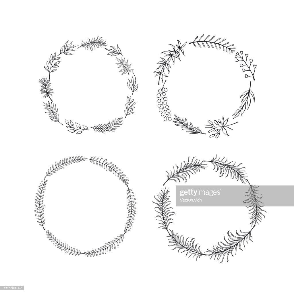 set of floral hand drawn  outlined twigs branches wreaths