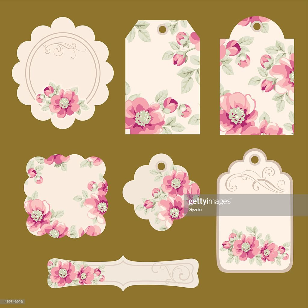 Set of floral tags