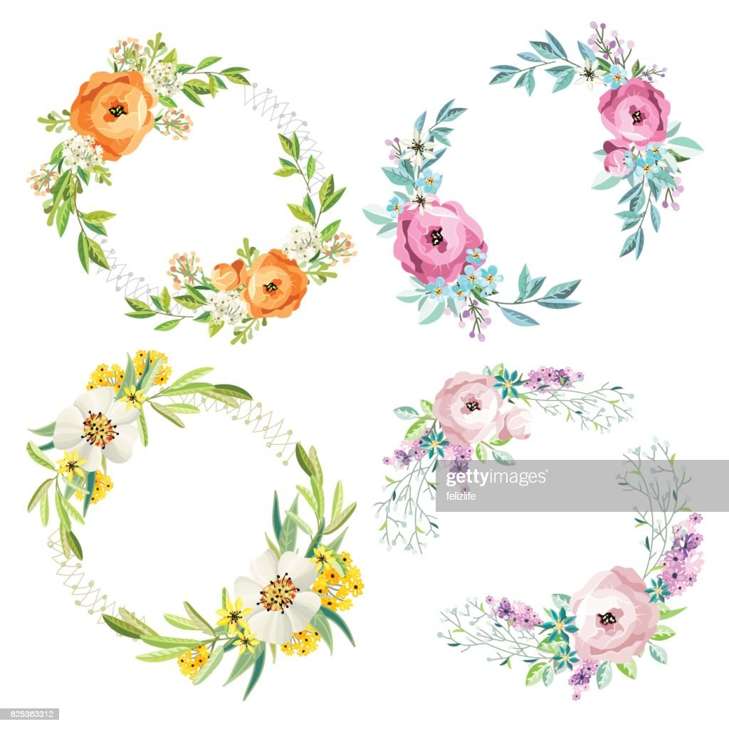 set of floral wreathes
