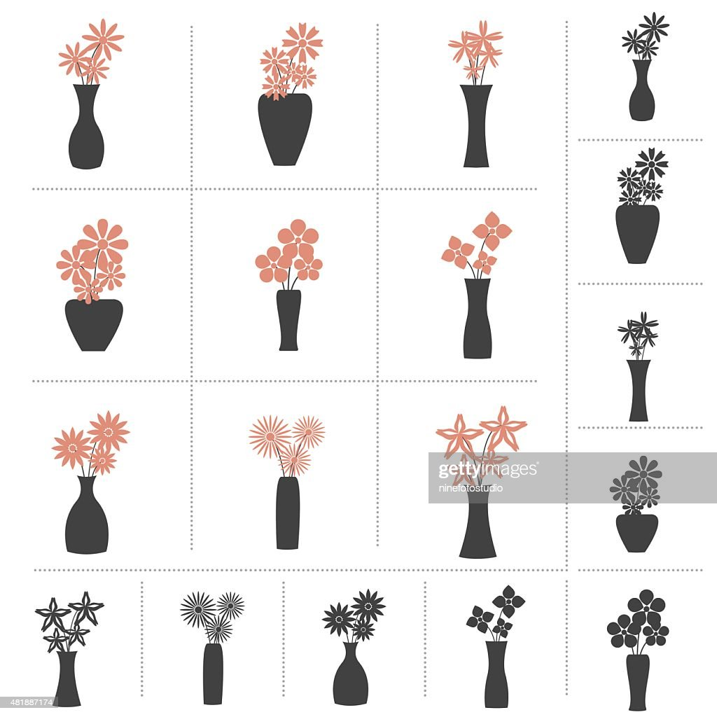 Set of Flowers in Vase Collection