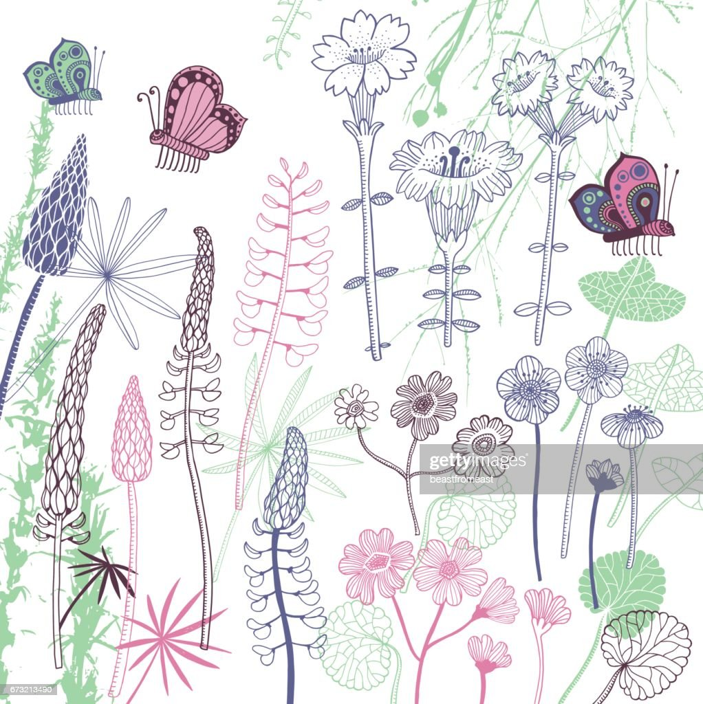 Set of flowers : stock illustration