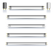 Set of fluorescent lamps with mirror reflection, vector illustration.