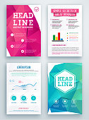 Set of Flyer, Geometric Triangular Abstract Modern Backgrounds. Brochure Design Templates.