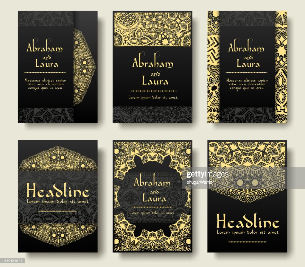 Set of flyer pages ornamental illustration stylized gold concept