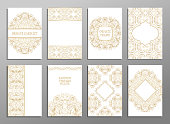 Set of flyer pages ornamental illustration stylized gold concept.