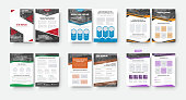 set of flyer templates with a place for photos and various geometric design elements