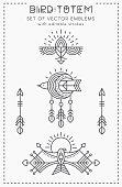 Set of Flying Bird icon design, geometric tribal archaic emblems