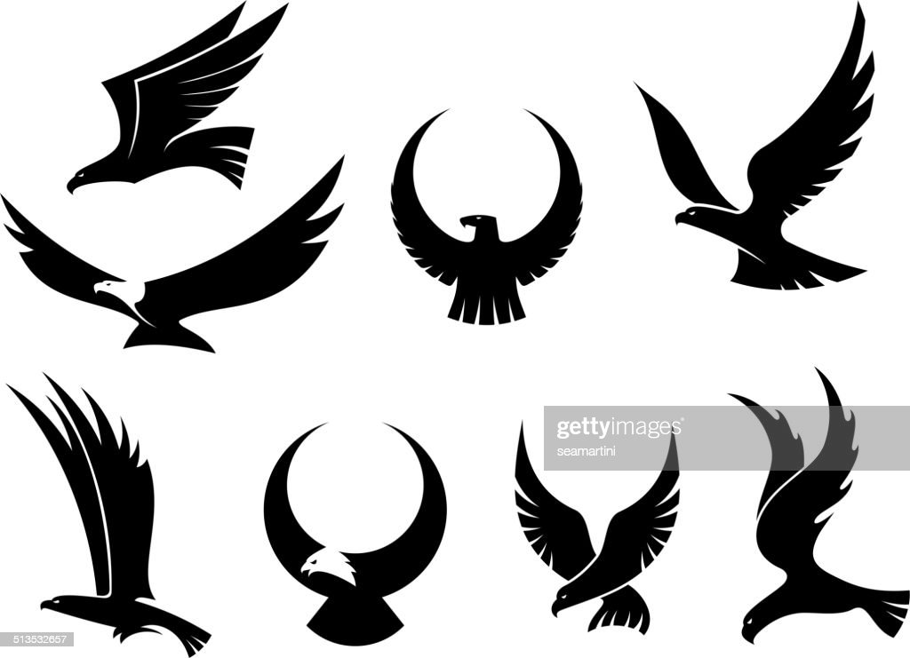 Set of flying eagles