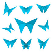 Set of flying isolated paper butterflies. Blue butterfly on the white background. Japanese origami, craft and paper style. Single elements for any decor. Vector Illustation.