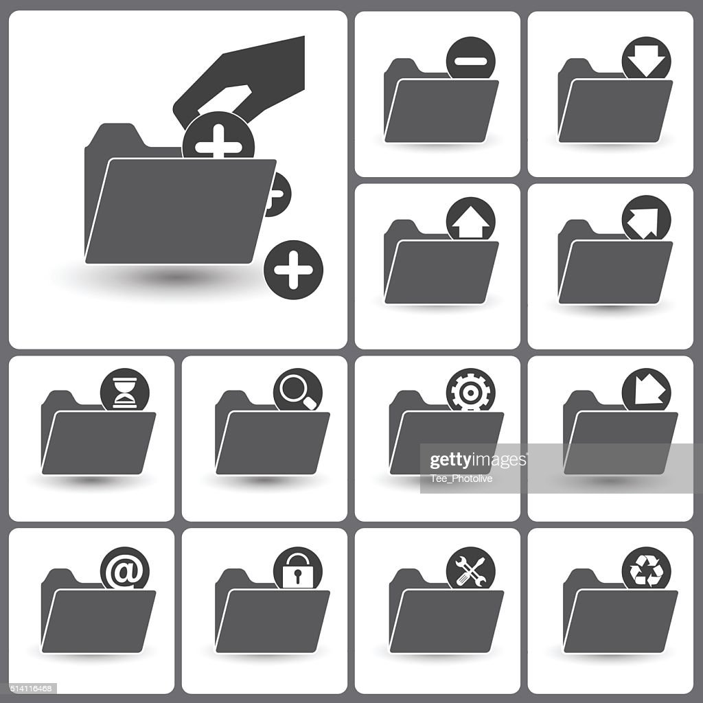 Set of folder management  icons for web icon collections.