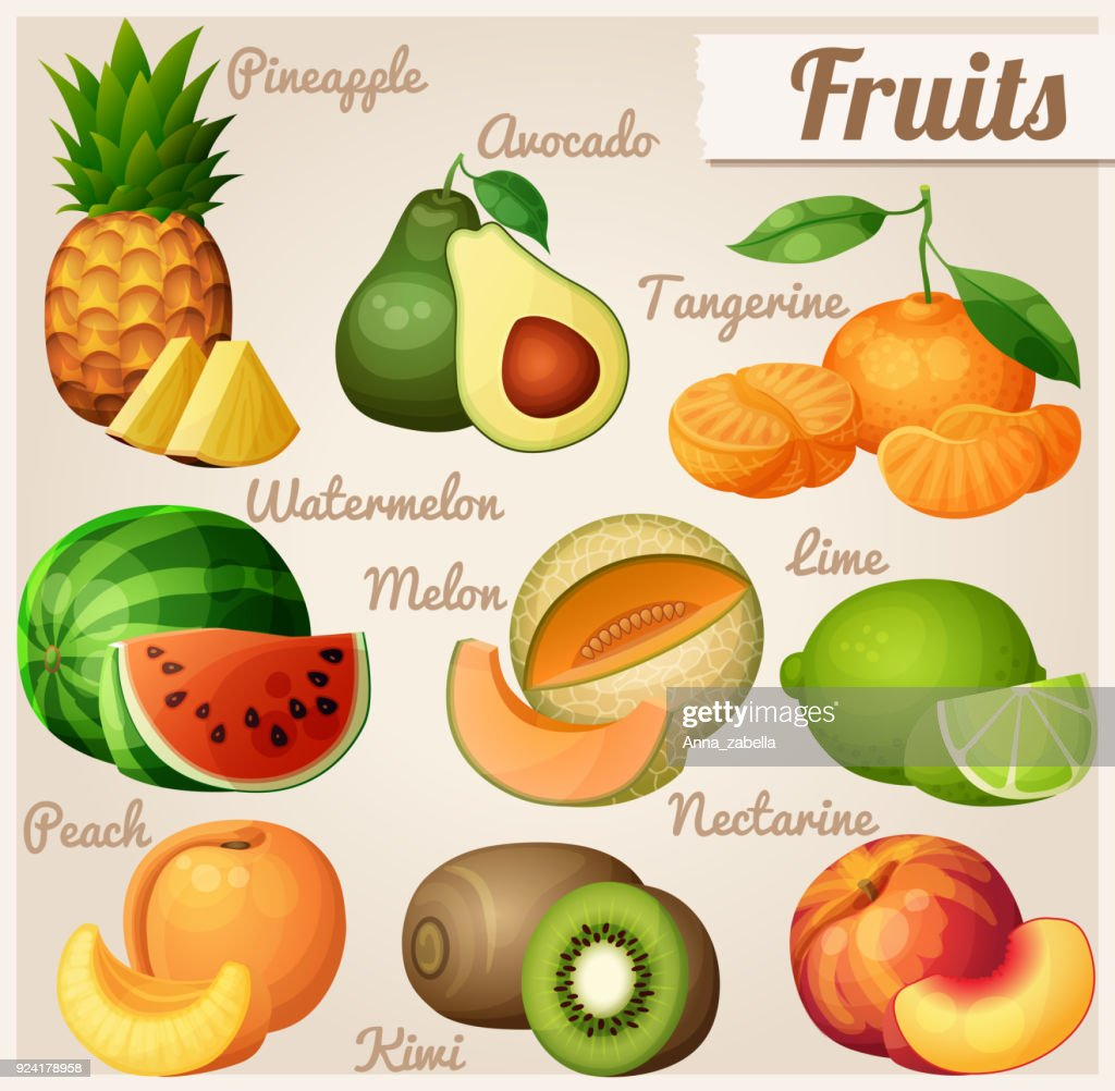 Set of food icons. Fruits. Pineapple ananas , avocado, mandarin tangerine