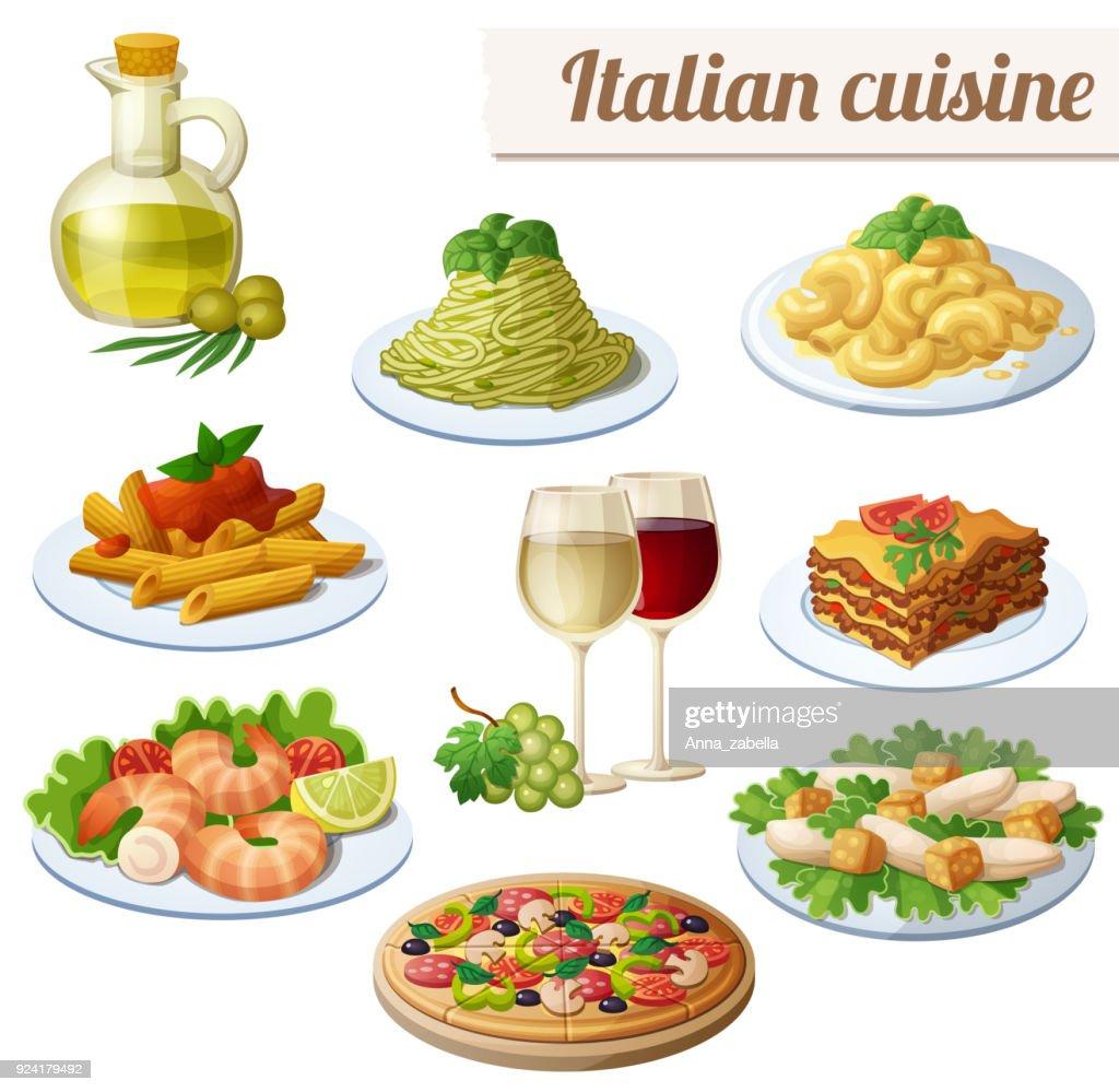 Set of food icons isolated on white background. Italian cuisine.