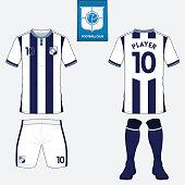 Set of football jersey, soccer kit. Football apparel mock up. Vector